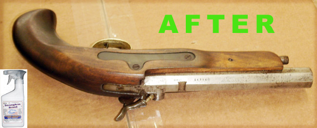 Antique Back Powder Pistol AFTER StrongArm Treatment